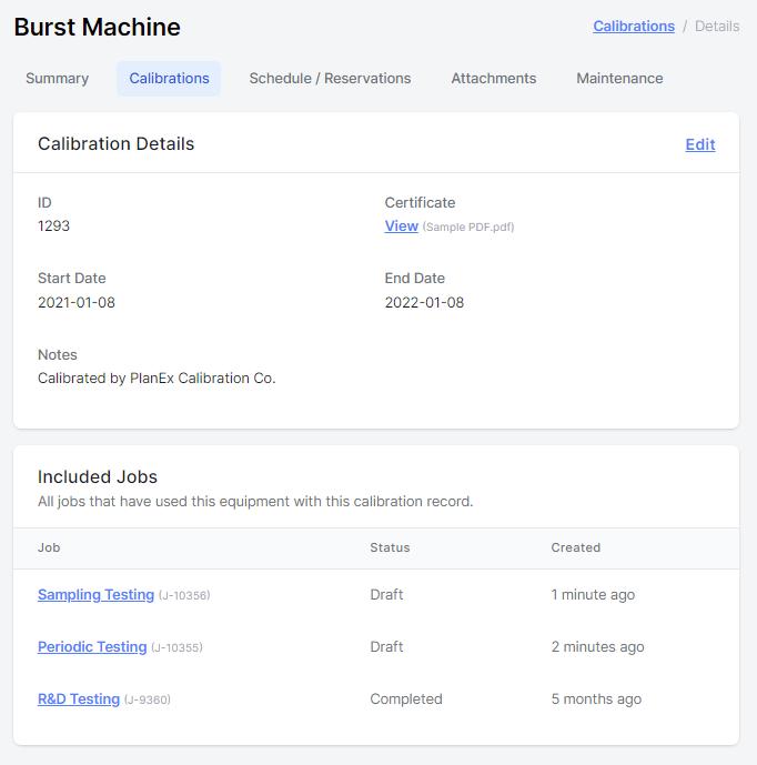 Calibration management details screenshot