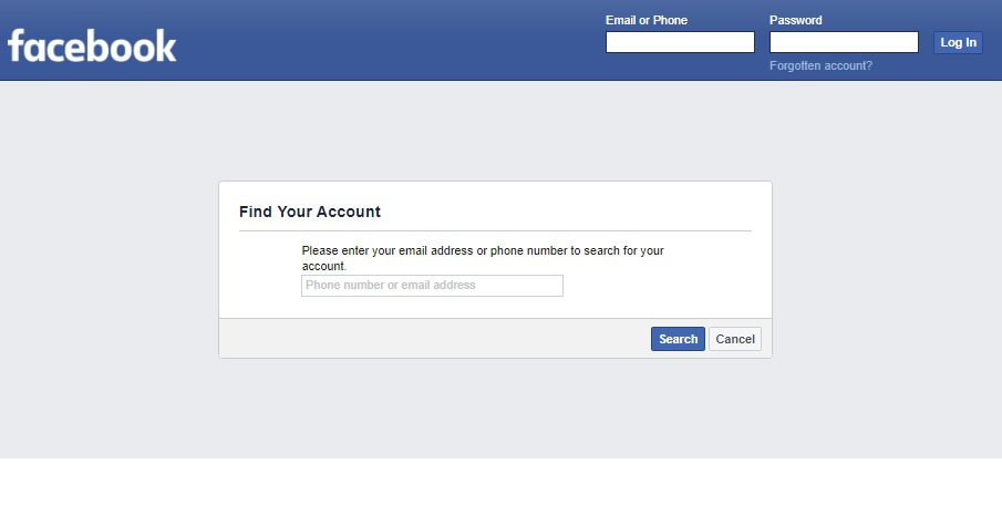 Facebook Recovery: Search for account by phone and email