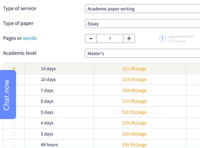 ukwritings.com pricing