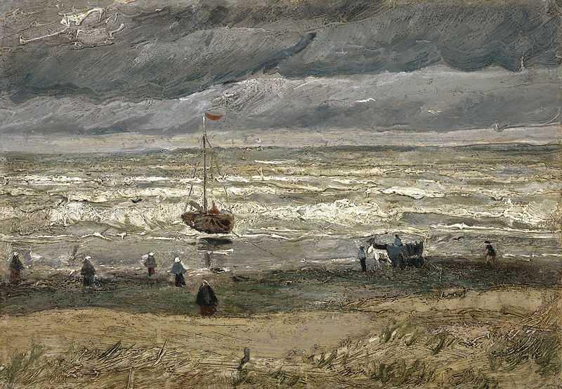 Scheveningen beach in stormy weather by Van Gogh, 1882, stolen in Dec 2002 now at the Van Gogh Museum in Amsterdam