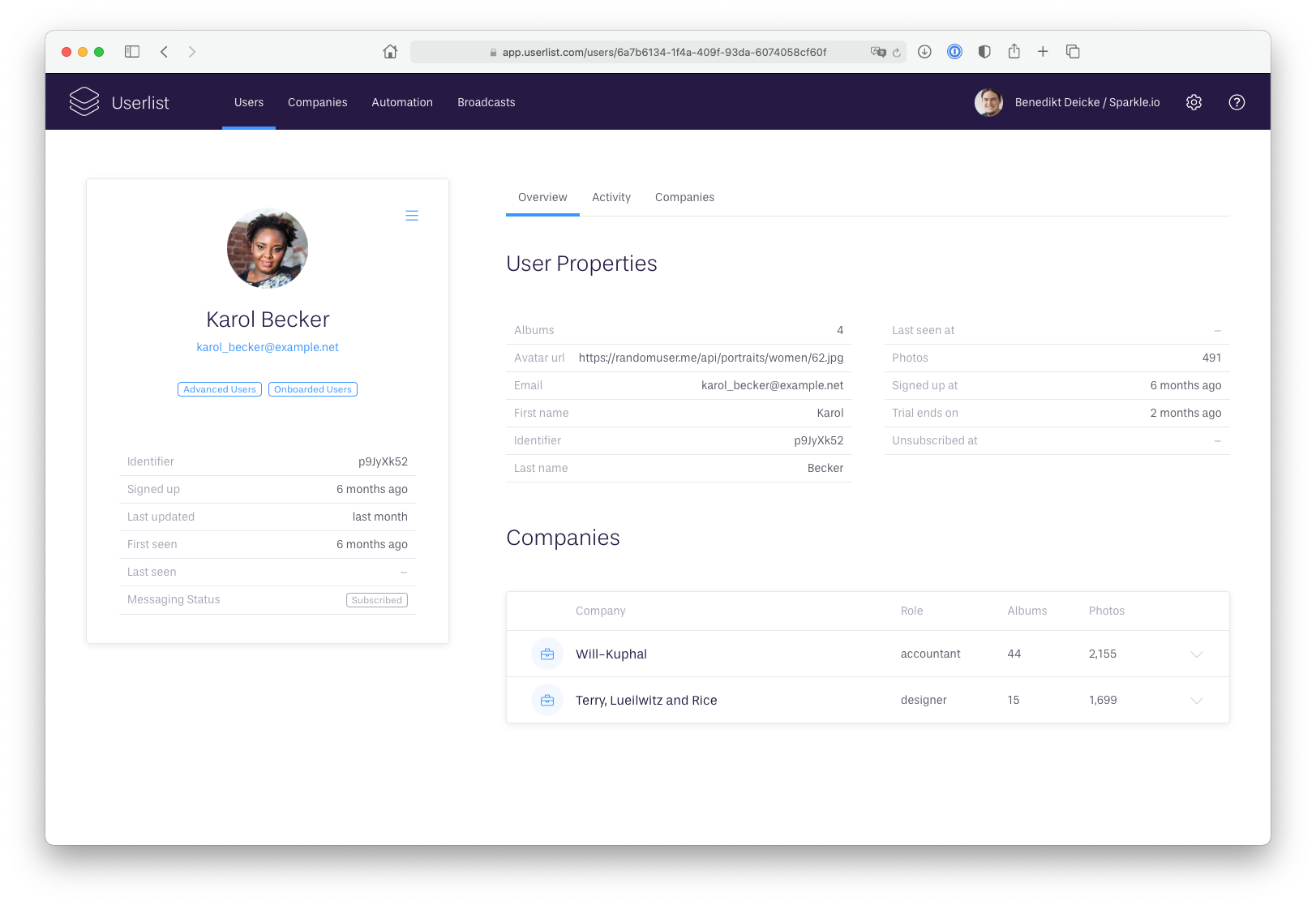 Improved user profiles