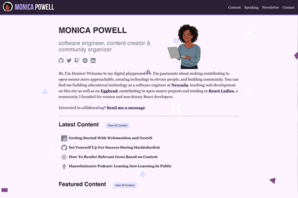 Screenshot of About Monica