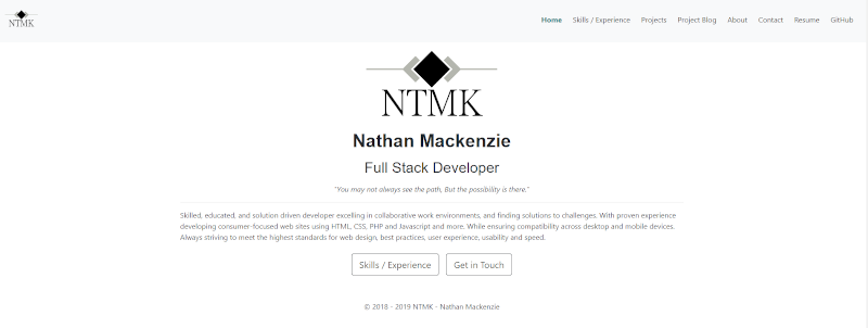 Snippet of ntmk.ca home page