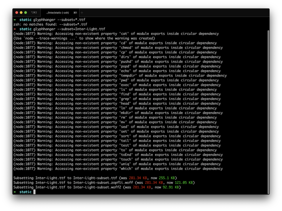 Screenshot of the errors shown in the terminal after running the glyphhanger command to subset and generate font files.