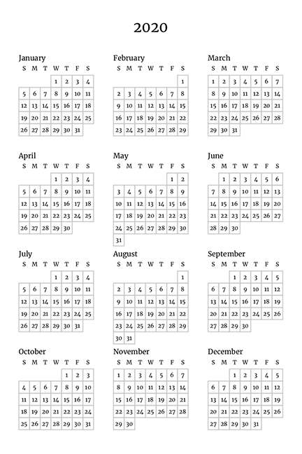 Year Overview Planer Template