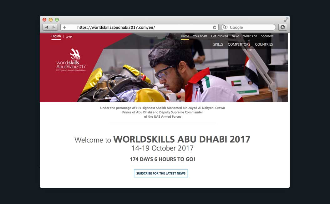 Image showing the WorldSkills Abu Dhabi 2017 website on a desktop