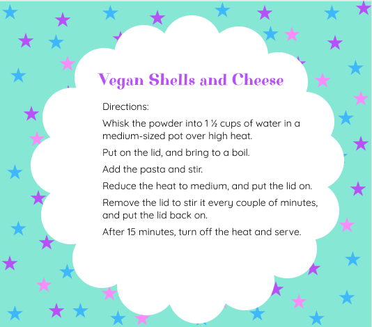 Directions for making the vegan macaroni and cheese