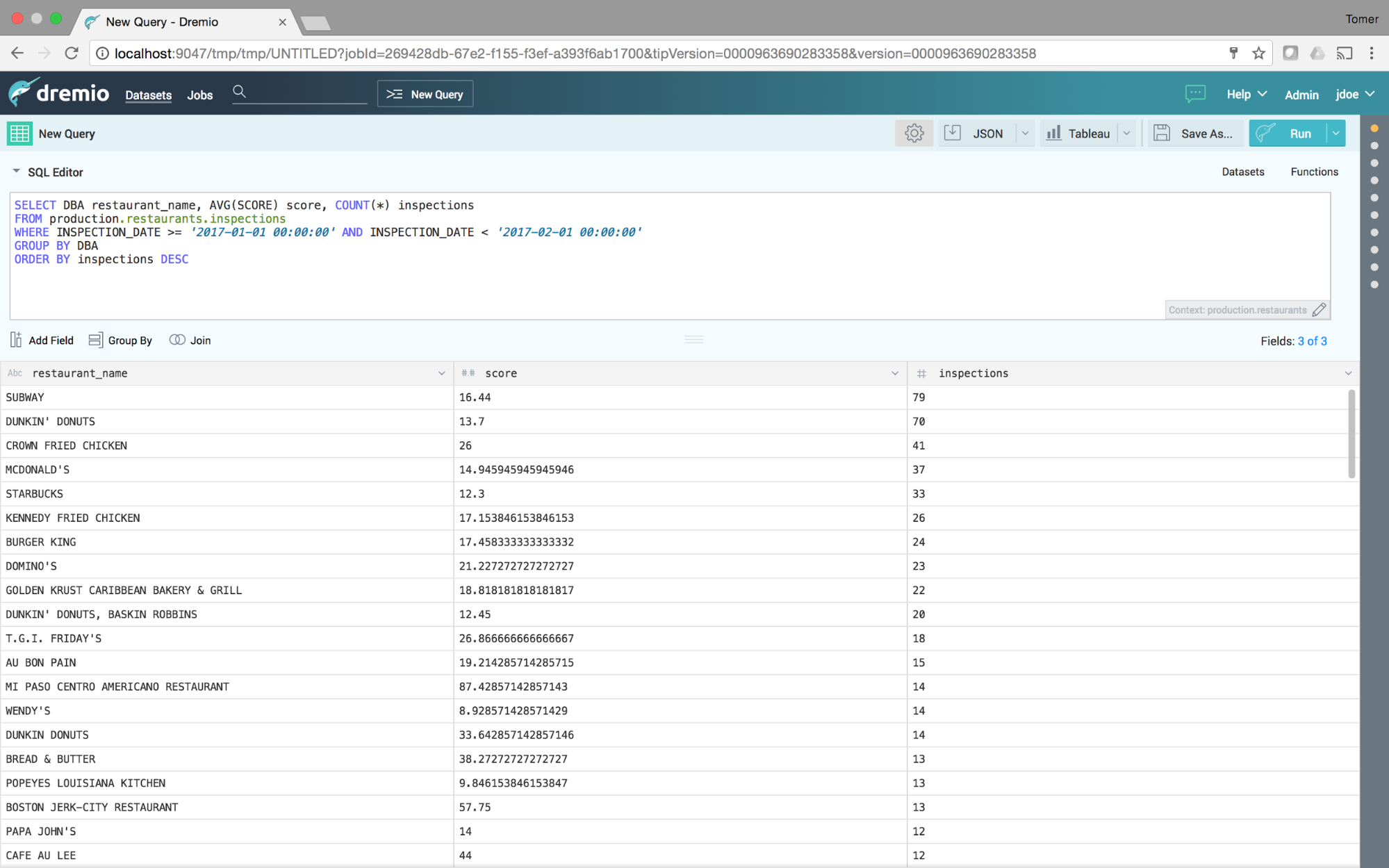 Filtered and aggregated SQL on Elasticsearch