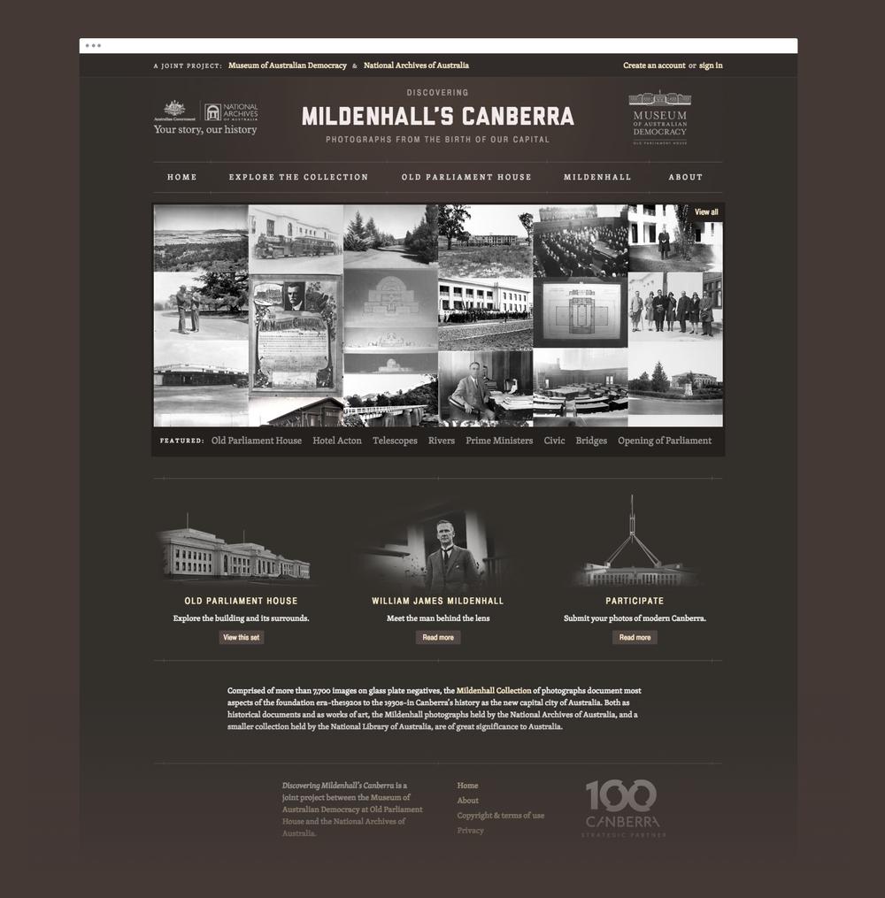 Mildenhall Landing page