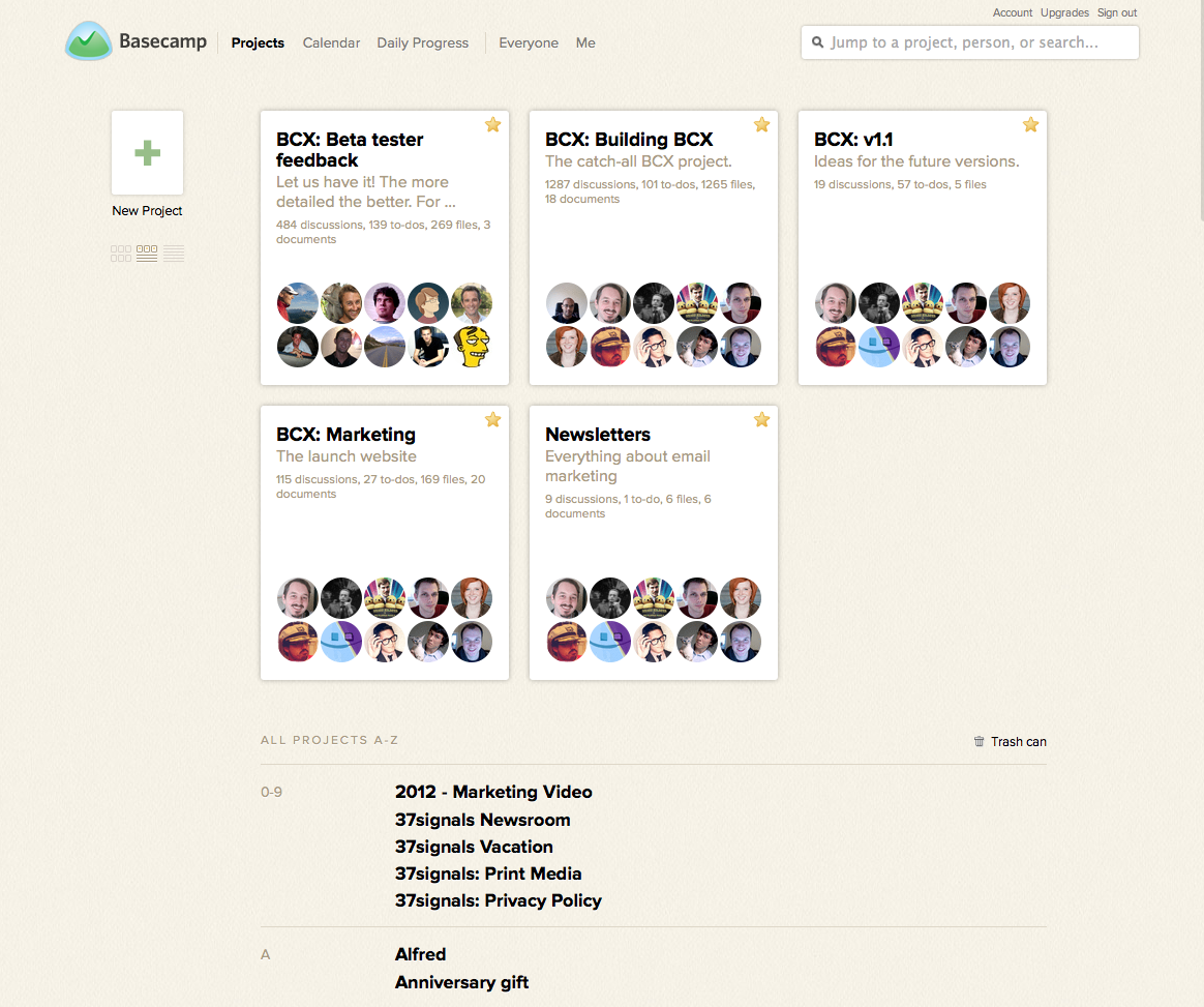 Basecamp 2 projects