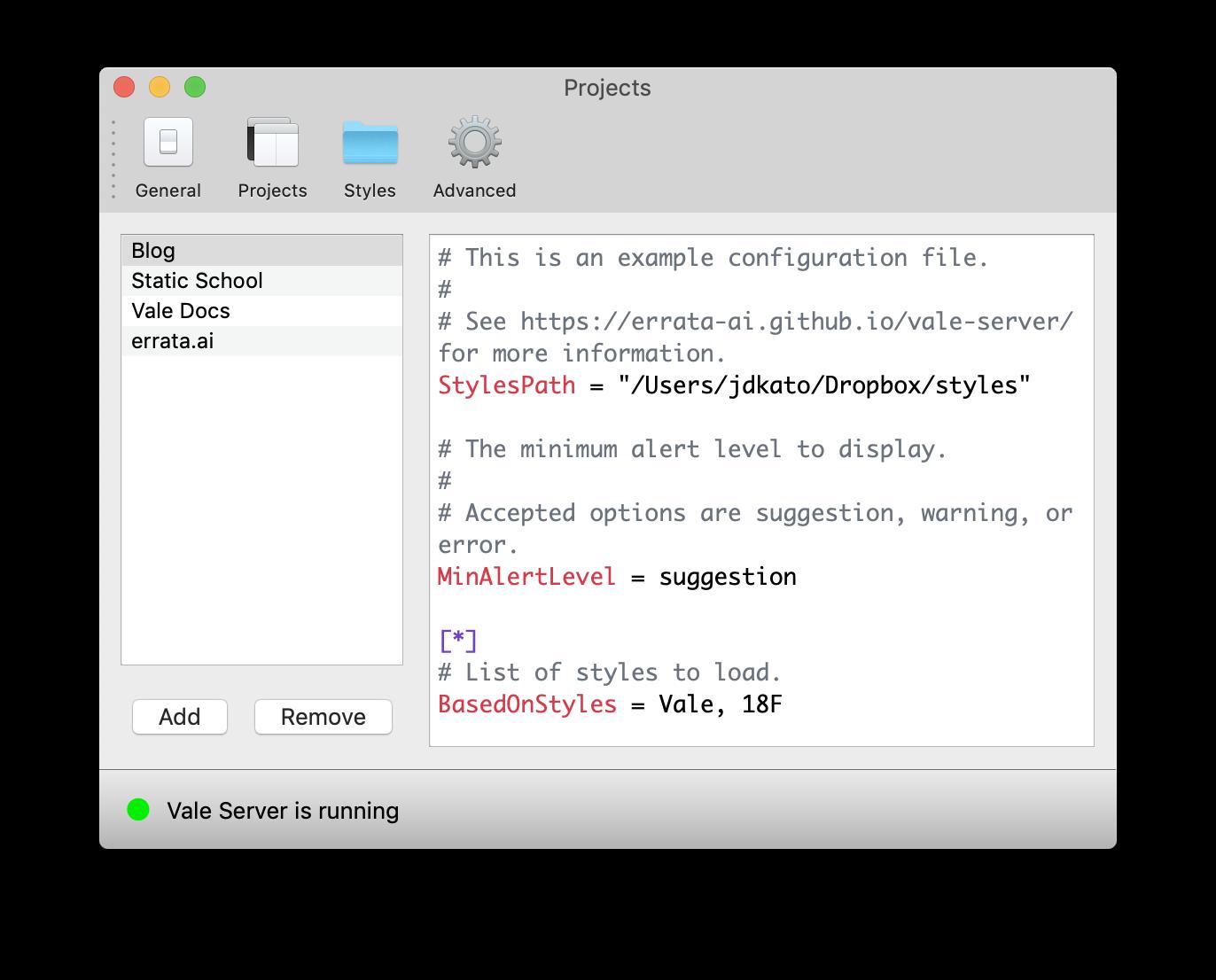 A example config file using a Dropbox folder.