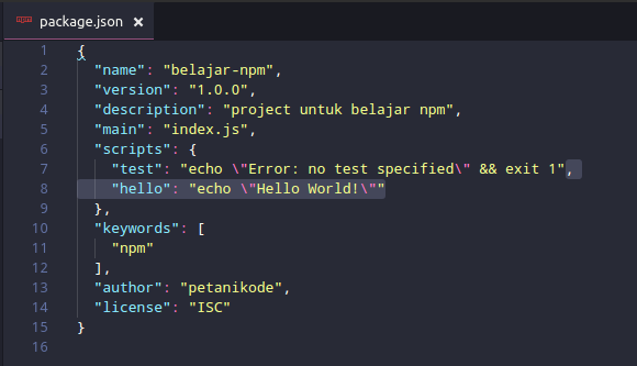 Hello Script at NPM