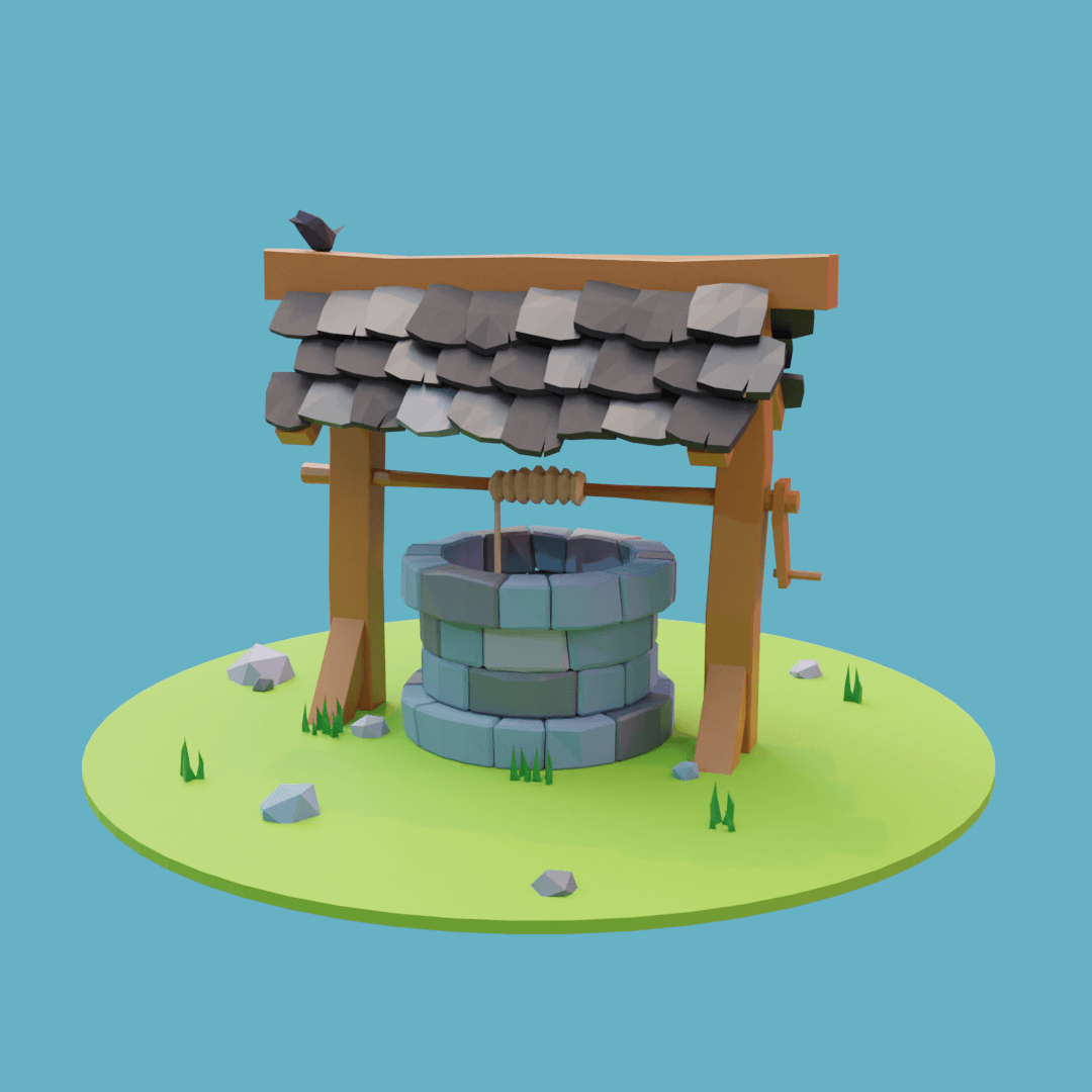 A well with a wooden frame and slate roof