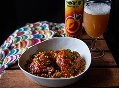 Sweet Chili Apricot Ale Chicken served with Pyramid Apricot Ale