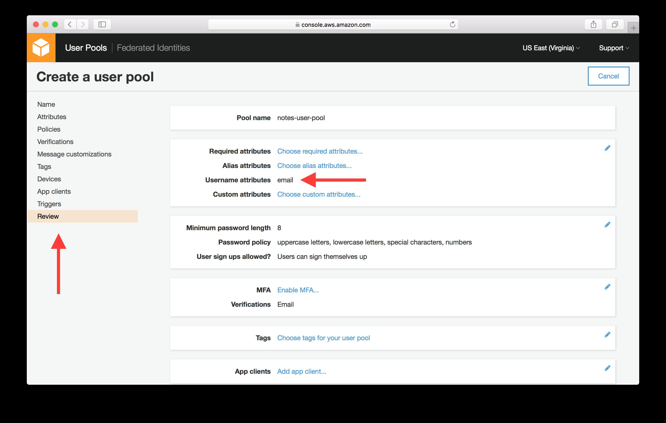 Review User Pool settings screenshot