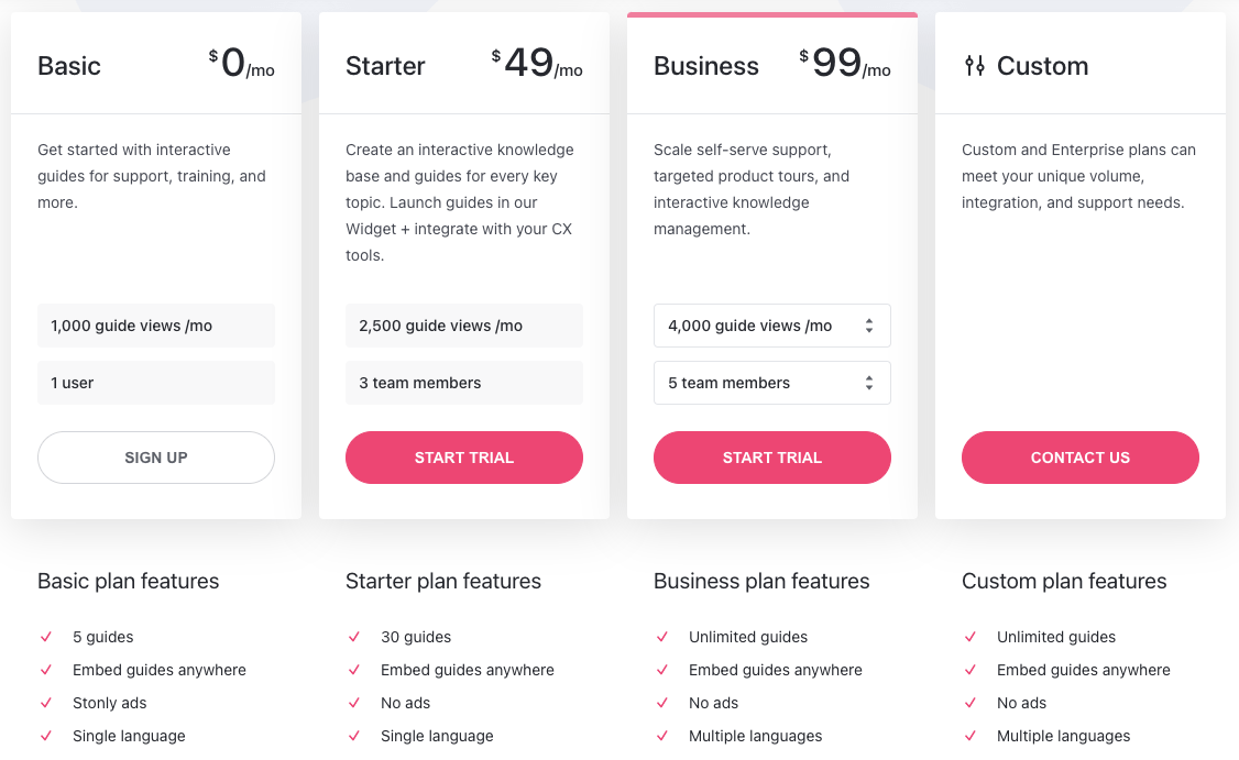 Stonly pricing plans