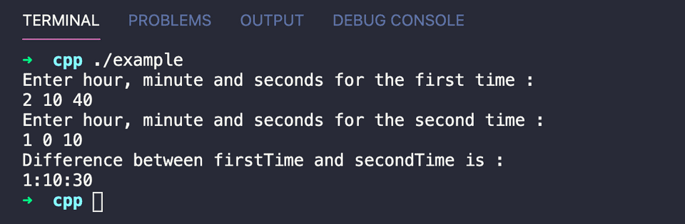 Find time difference between two time in C++