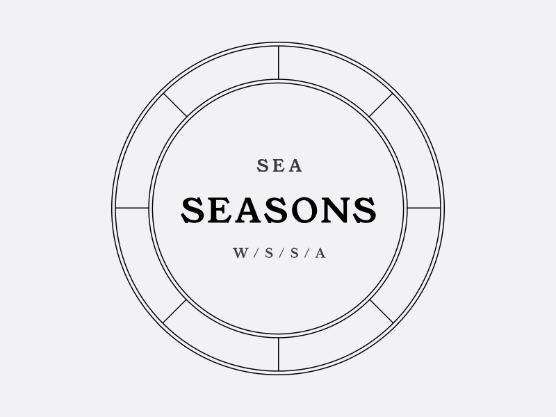 A logo with SEA - Seasons in the middle of a circle. An outer ring is divided into eighths.