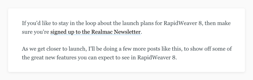 Rapidweaver announcement 3