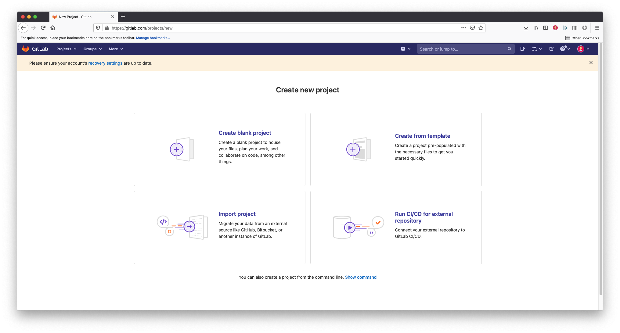 A screenshot of the Gitlab 'Create new project' screen. The screen contains 4 options: Create blank project, Create from template, Import Project and Run CI/CD for external repository. You will want to select the first option, Create blank project.