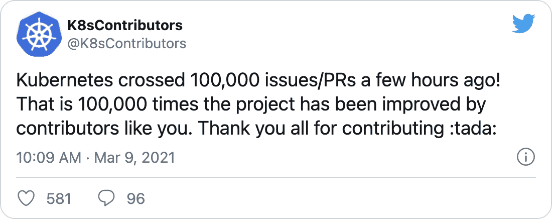 "K8sContributors on Twitter: ""Kubernetes crossed 100,000 issues/PRs a few hours ago! That is 100,000 times the project has been improved by contributors like you. Thank you all for contributing 🎉"""