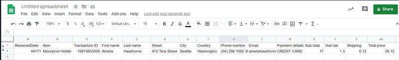 parsed data sent to google sheets