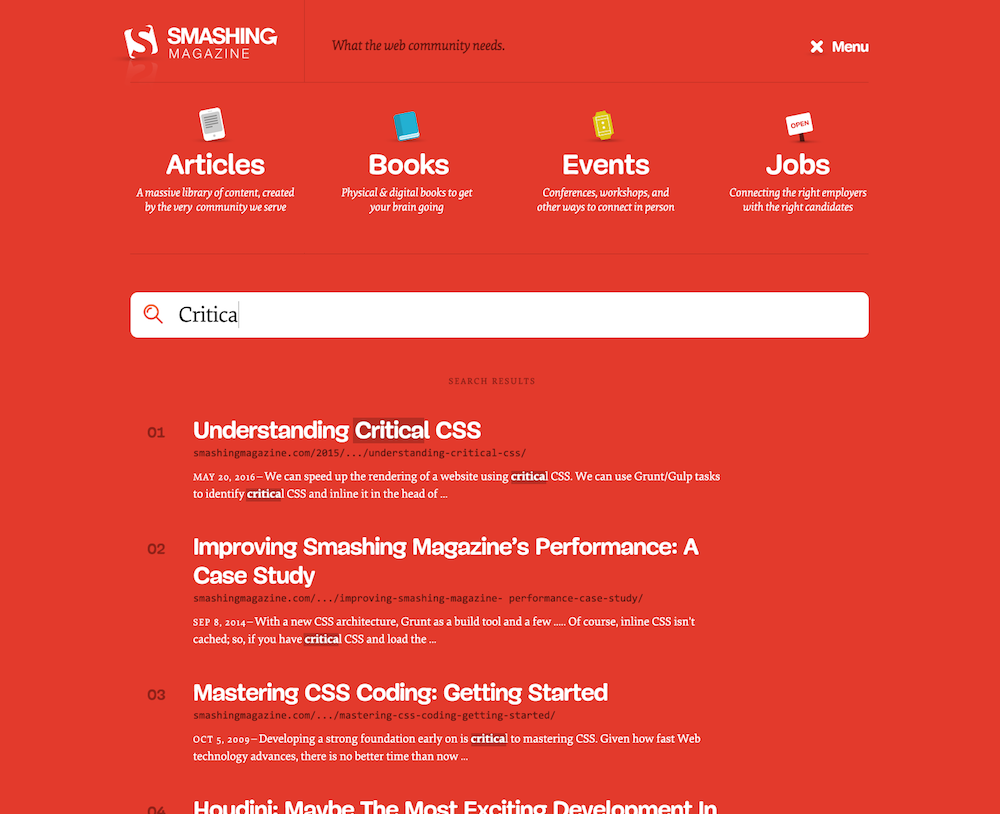 Screenshot of the Smashing Magazine navigation with the live search results activated