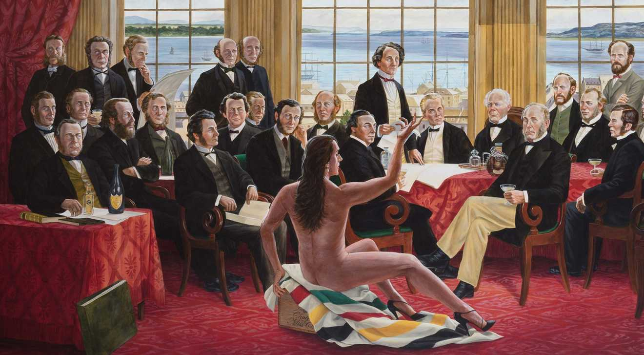 """The Daddies"", an acrylic painting by Cree artist Kent Monkman, gives an Indigenous view of Canada's Confederation"