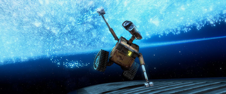 WALL-E, se segurando em uma espaçonave, observa as estrelas