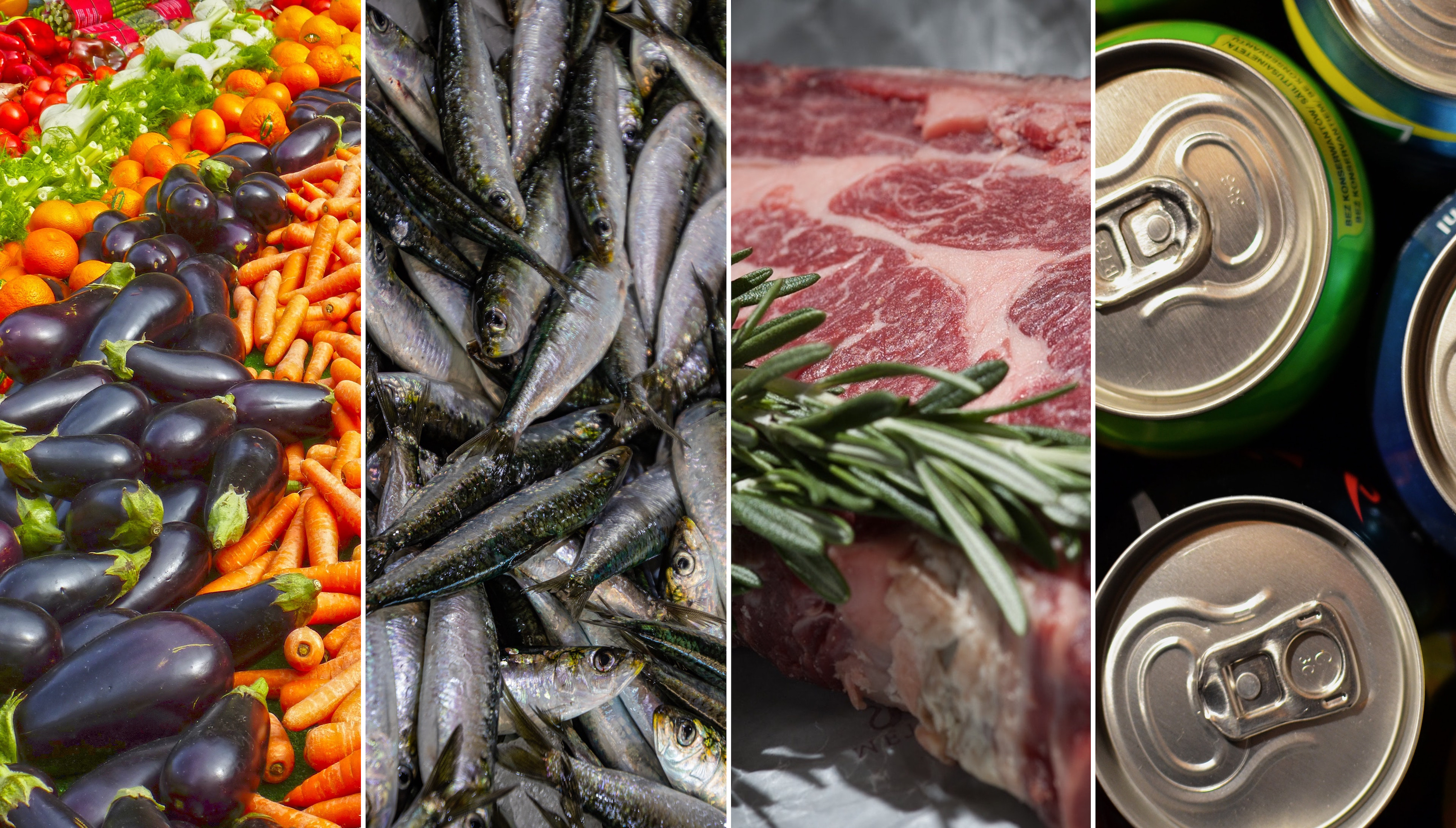 Collage de distintos productos alimentarios