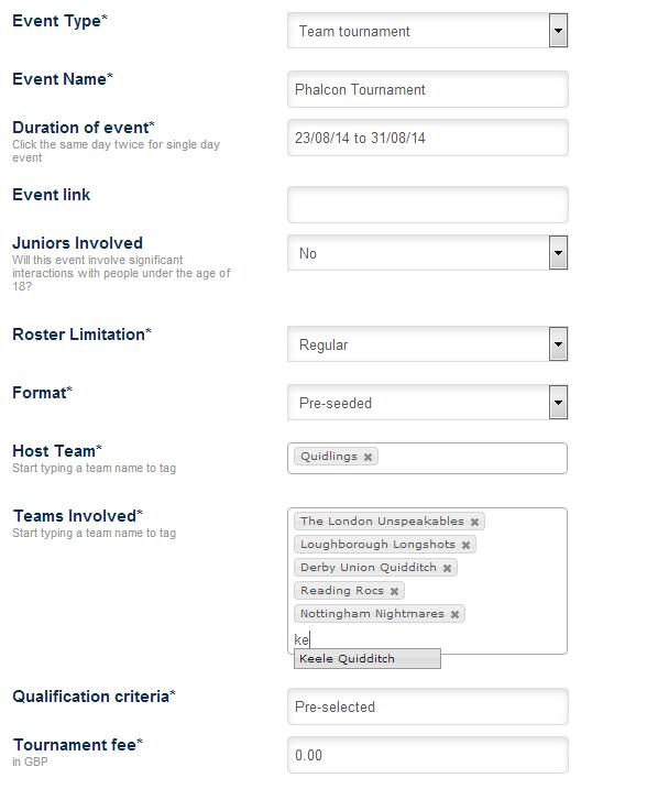 Registering an event (Tournament)