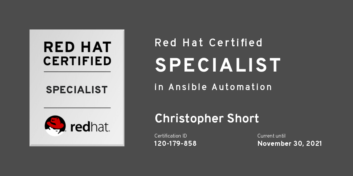 I'm a Red Hat Certified Specialist: Ansible Automation