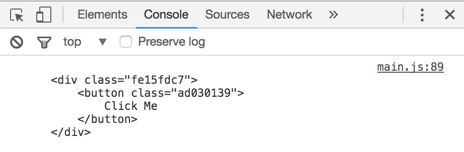 Chrome console log output