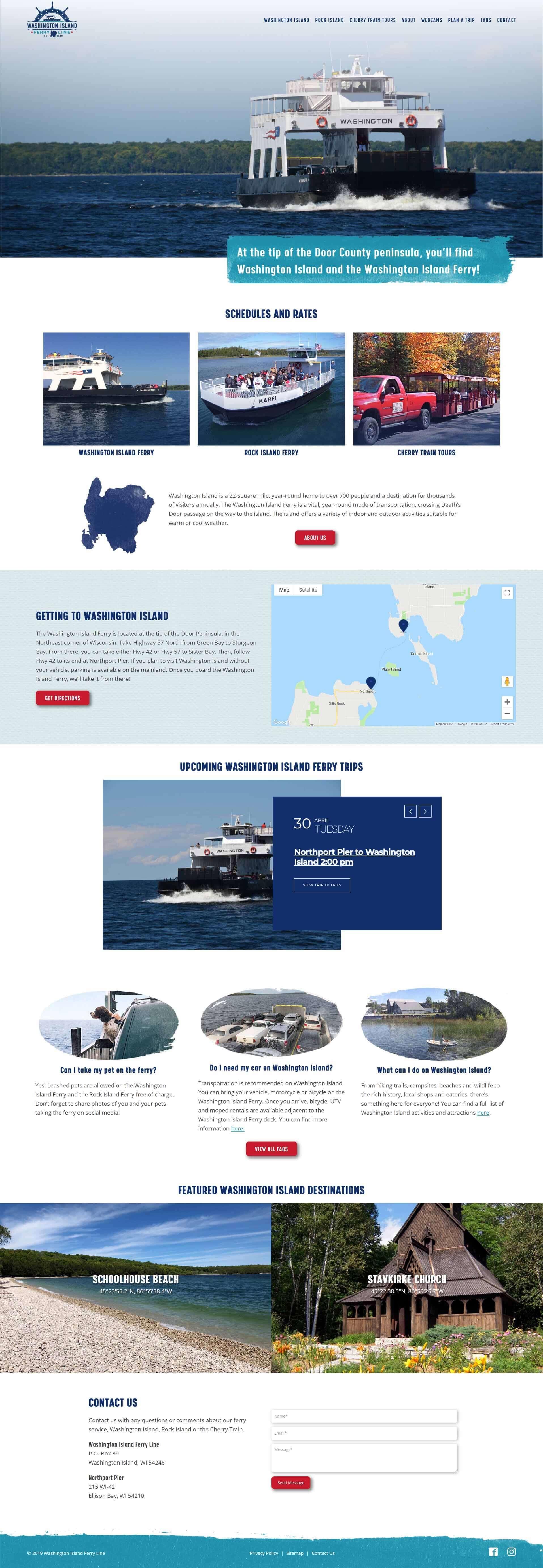 Washington Island Ferry new homepage