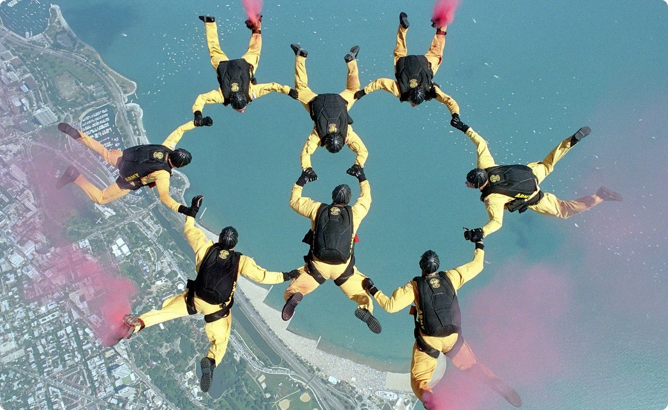 Lean Manufacturing - Groupe de parachutistes pros avec des tenues identiques et certain des dispositifs de fumées rouge aux pieds, sont en action, en vol et forment 2 cercles qui s'entrecroisent en se tenant les mains. Performance, organisation et sécurité.