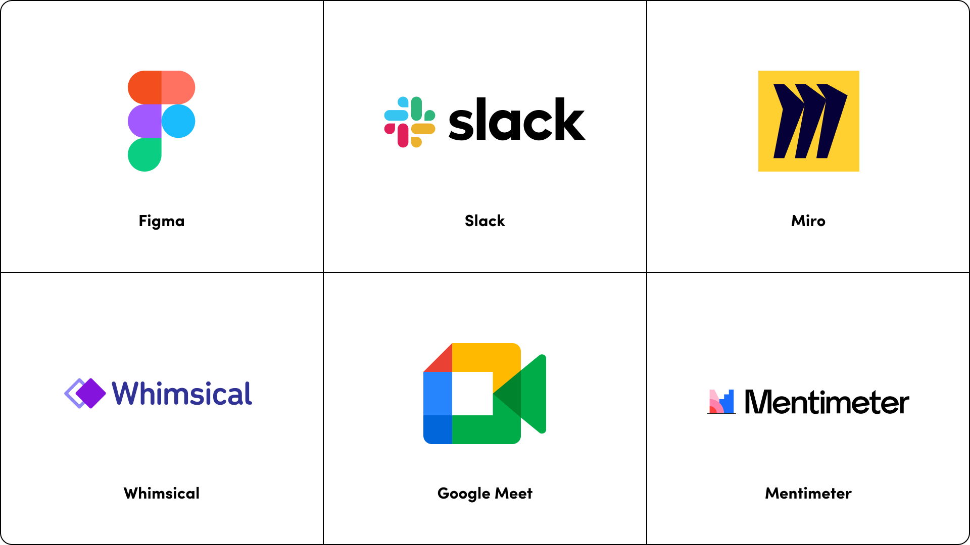 project management tool, collaboration tools - Figma, Slack, Miro, Whimsical, Google Meet, Mentimeter