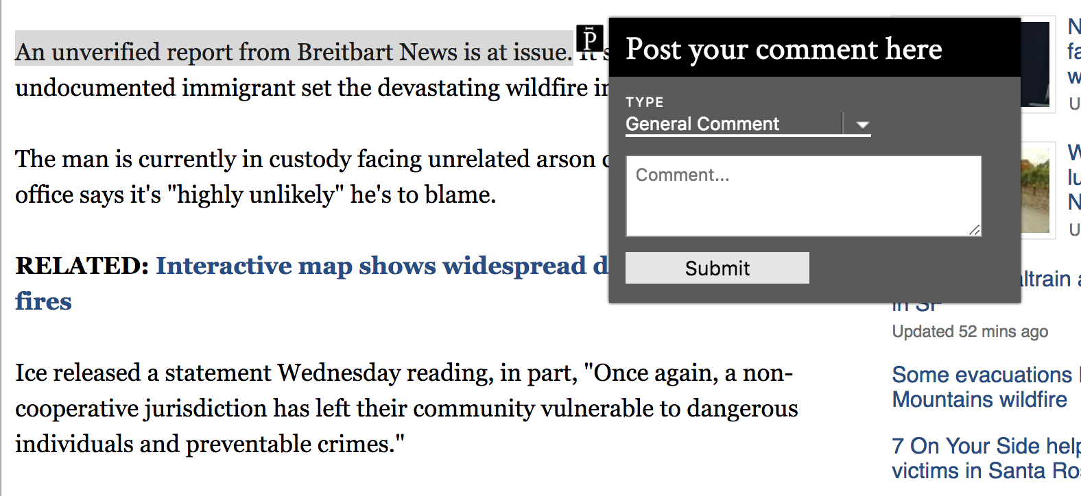 A small comment box over a highlighted sentence in an online news article.