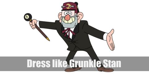 """Grunkle Stan costume is a very interesting mix of classy and mysterious with his all black suit combined with his fish fez and 8-ball cane."""