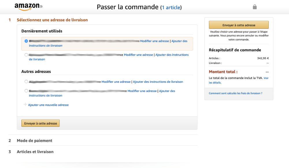 page de confirmation de commande Amazon