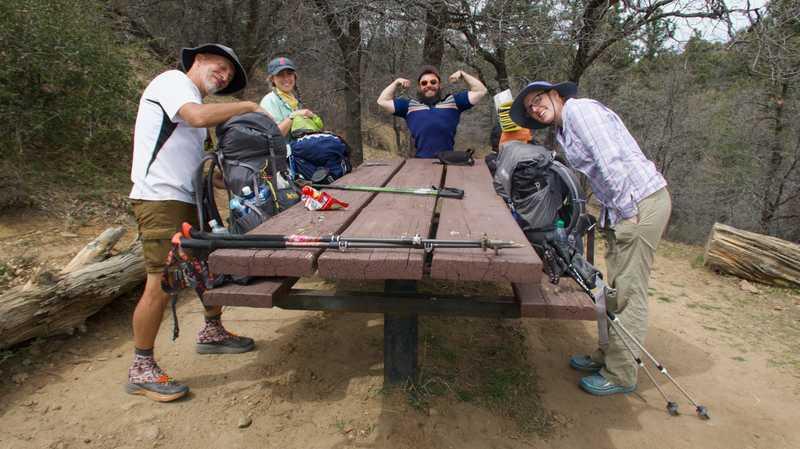 Tramily members at Desert View Picnic Area
