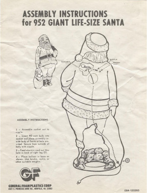 General Foam Plastics Giant Life-Size Santa #952 Instruction Manual preview