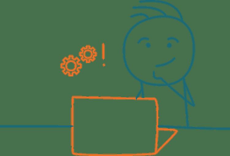 Strichmännchen mit Laptop