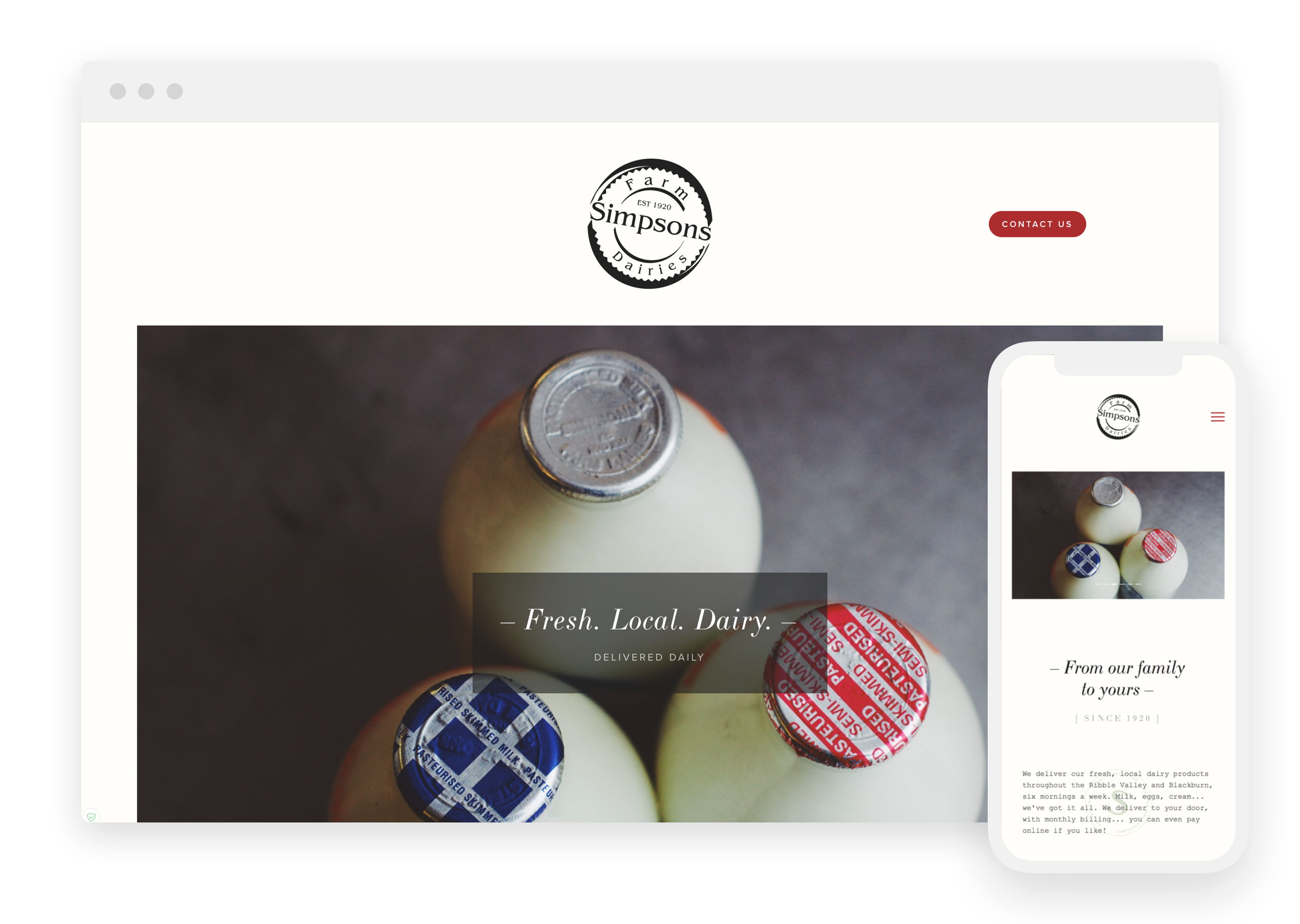 Responsive website design for Simpsons Farm Dairies