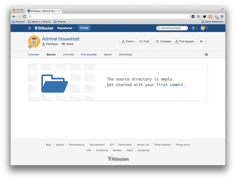 Screenshot of No source code Bitbucket project