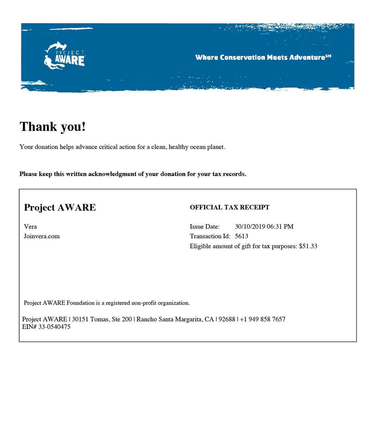 project aware receipt