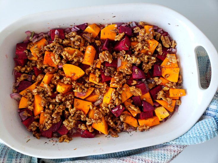 Uncooked butternut squash and beet casserole