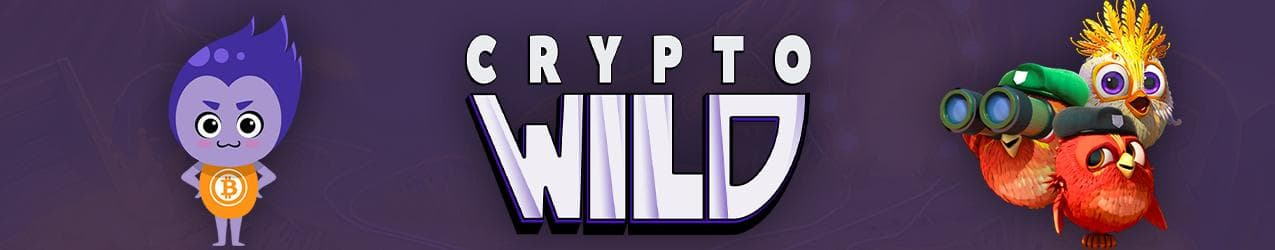 Crypto Wild Casino Banner mit Testimonial und Logo des Casinos