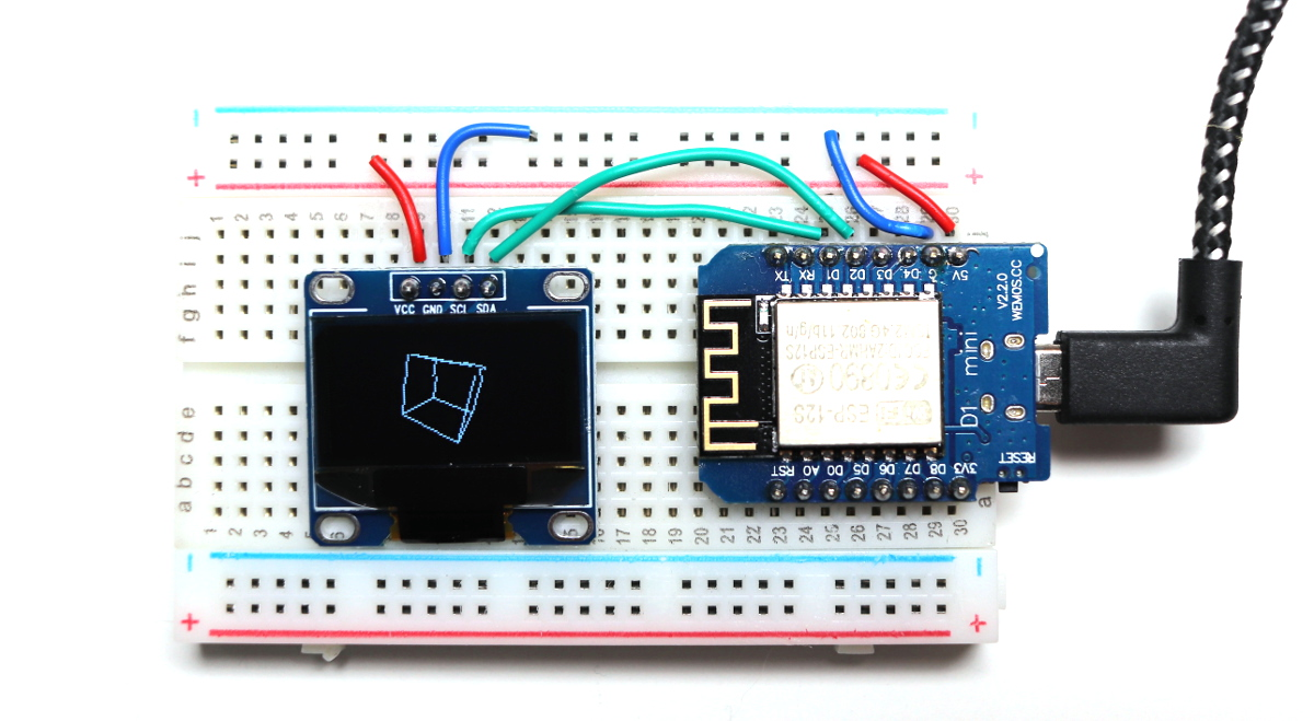I2C OLED display wired to Wemos D1