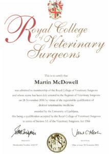 RCVS certifcate