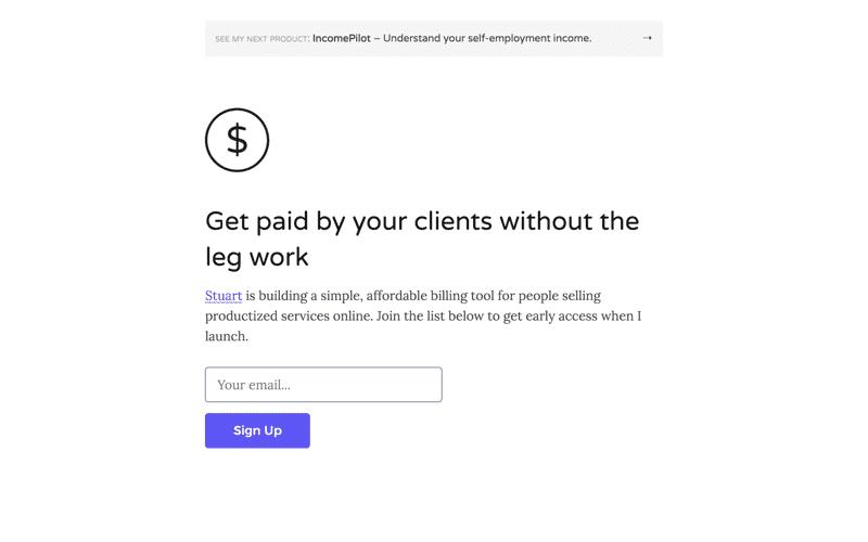 Landing page design for PaymentLink